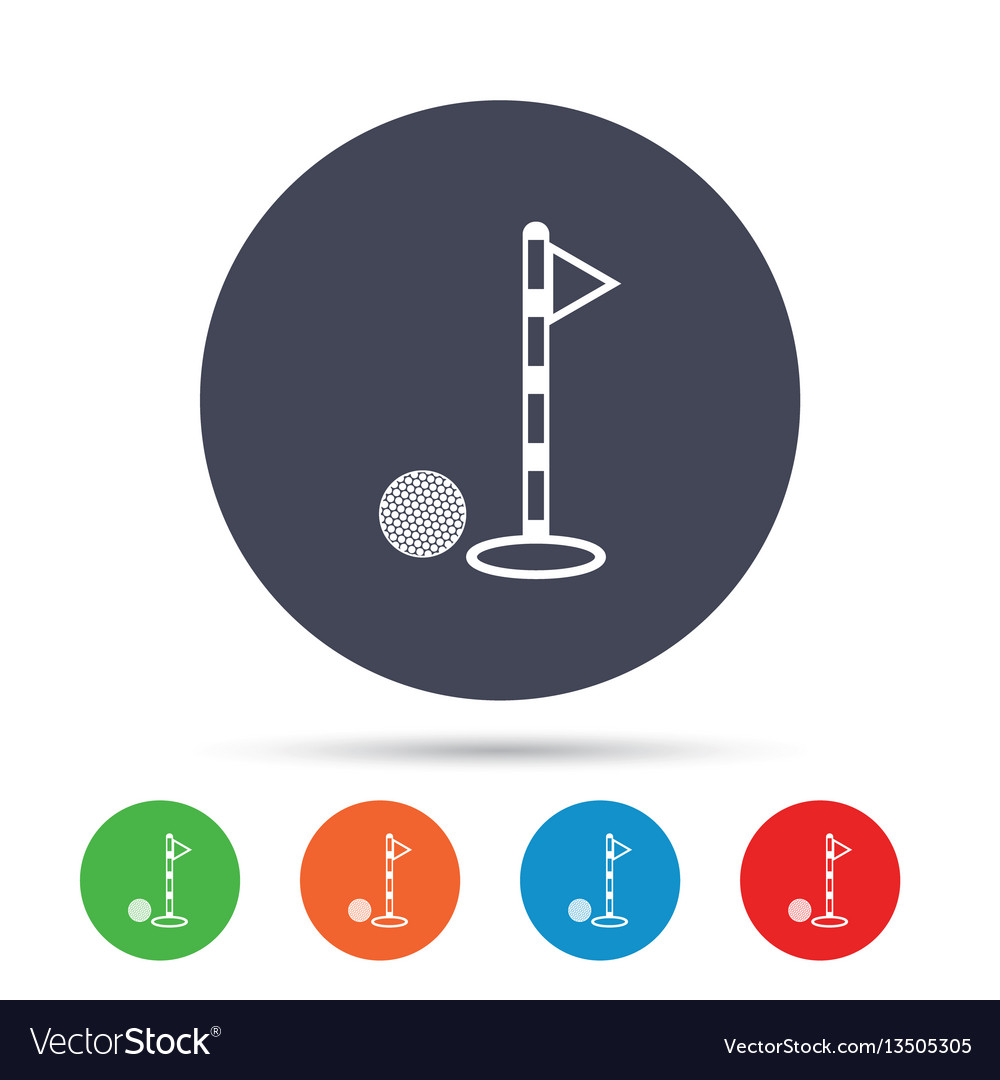 Golf ball and hole sign icon sport symbol vector image