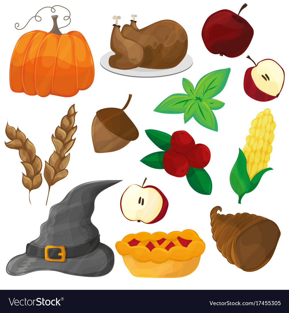 Happy thanksgiving and halloween cartoon character vector image