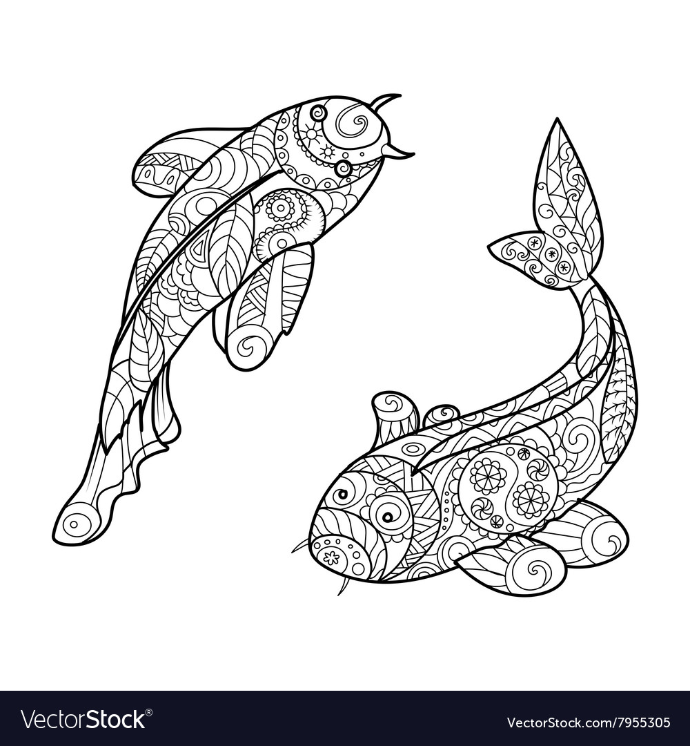 Koi carp fish coloring book for adults