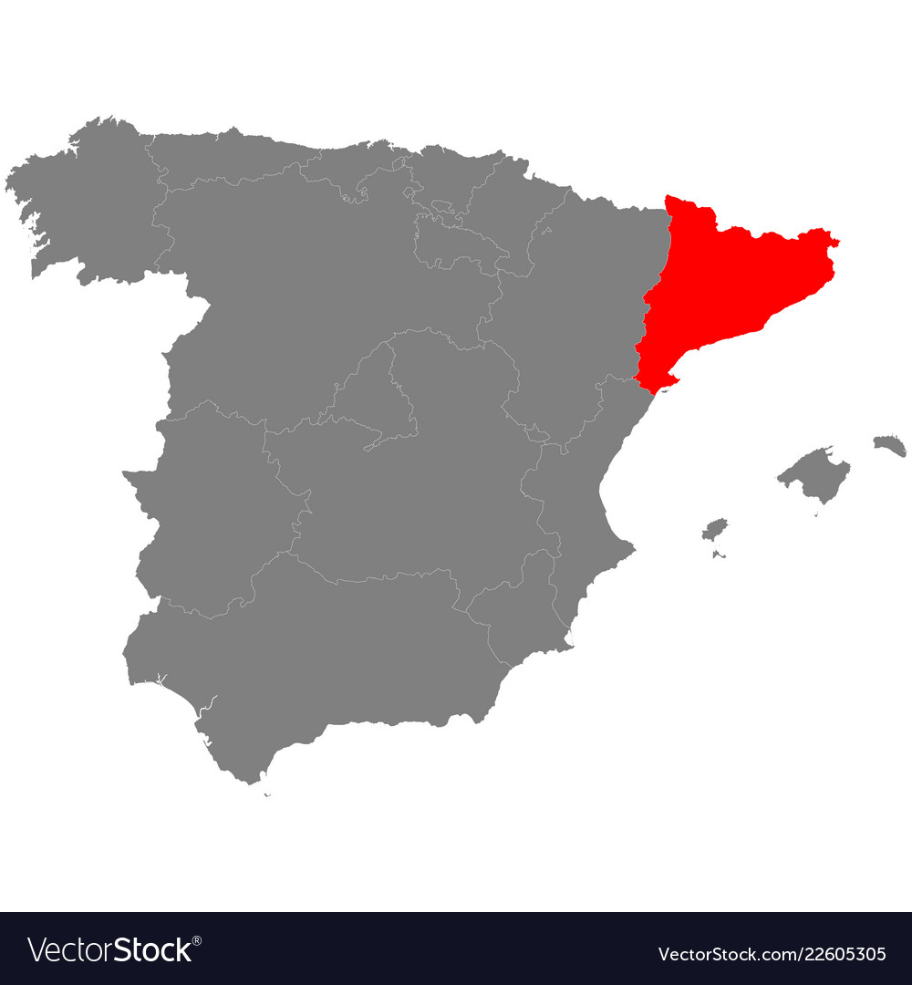 Map Of Spain With Borderrs Of Catalonia Royalty Free Vector
