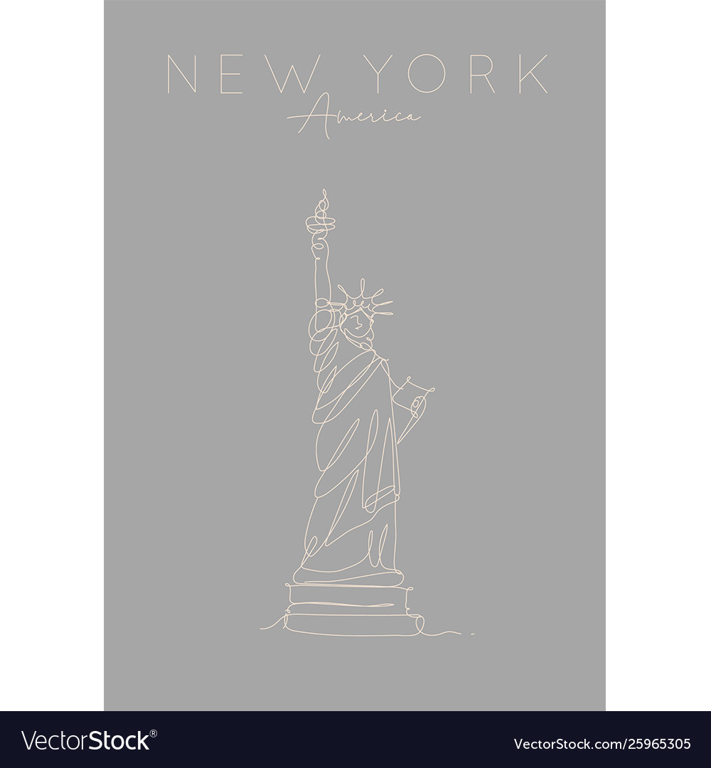 Poster new york statue liberty grey