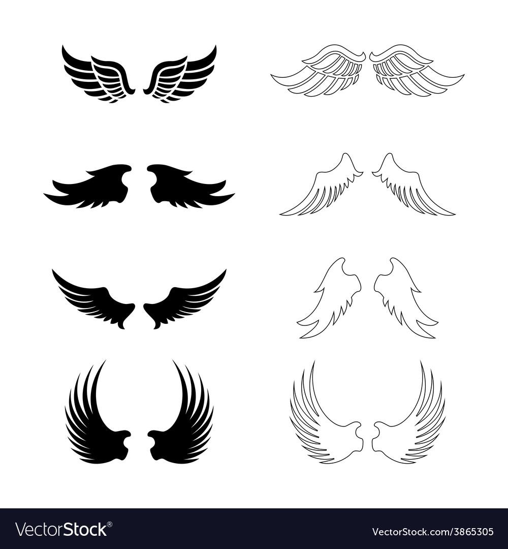 Set wings - silhouette design elements