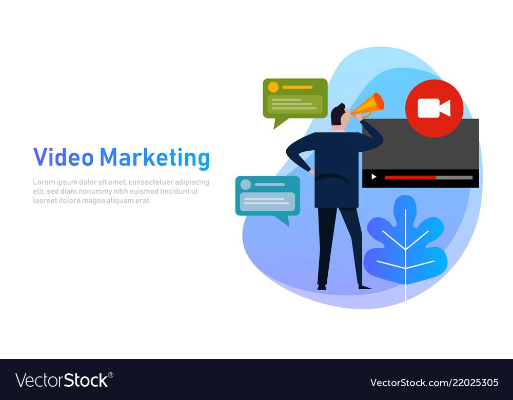 Video marketing flat design concept vlog business