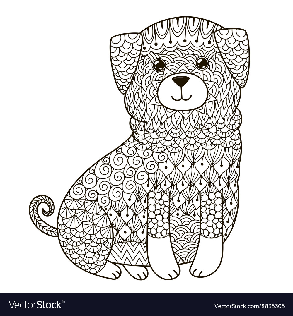 Zentangle dog for coloring page shirt design log