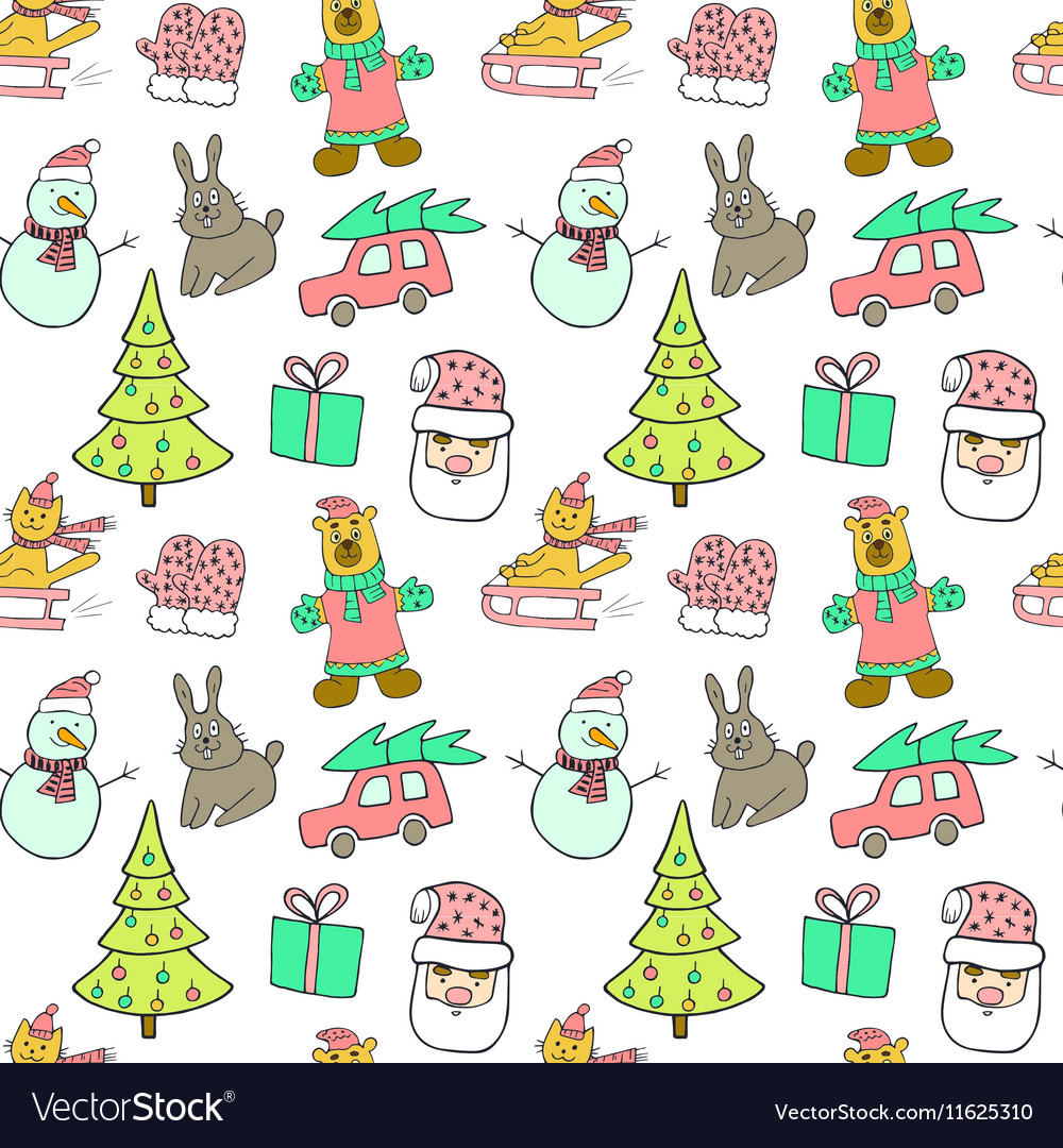 Cute christmas and new year seamless patterncat