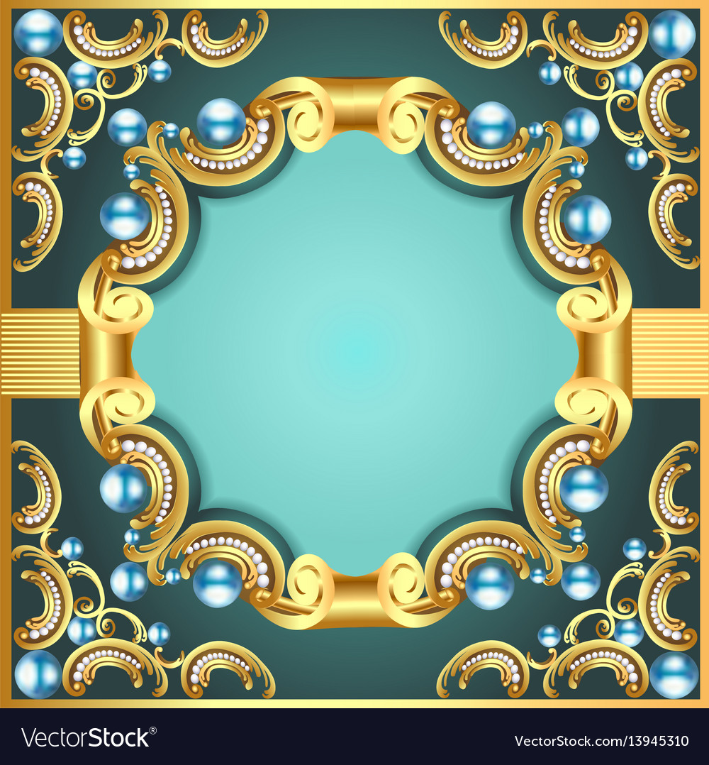 Decorative frame with pattern gold pearl vector image