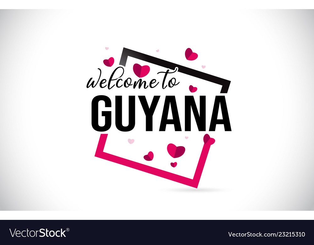 Guyana welcome to word text with handwritten font vector image