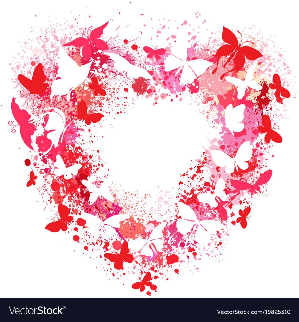 Heart shaped frame made of spray and butterflies Vector Image