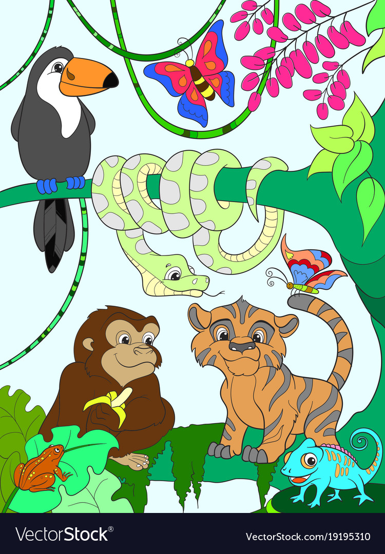 jungle forest with animals cartoon royalty free vector image