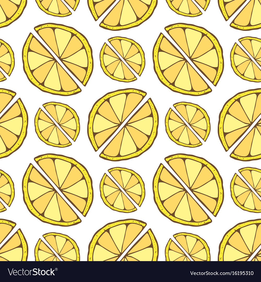 Lemon seamless pattern hand drawn background for vector image