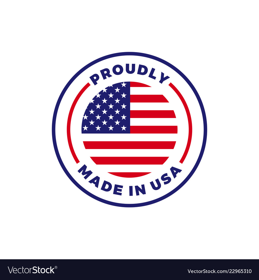 Made in usa american flag round icon