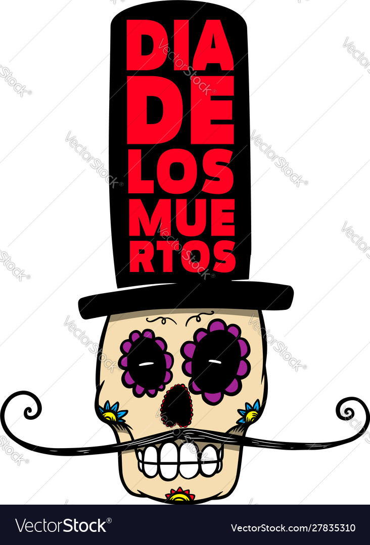 Mexican sugar skull in sombrero isolated on white