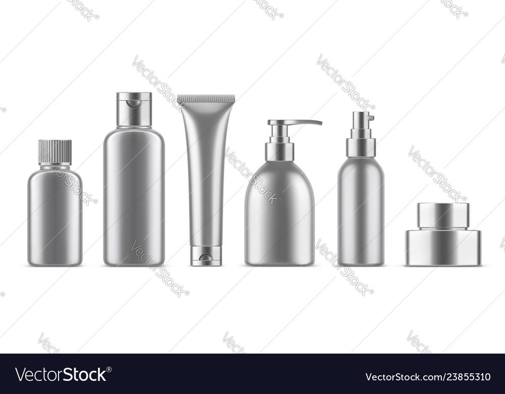 Realistic cosmetic bottles set