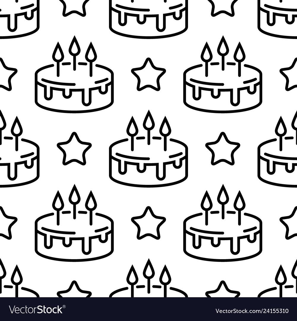 Seamless birthday cake pattern line cakes with