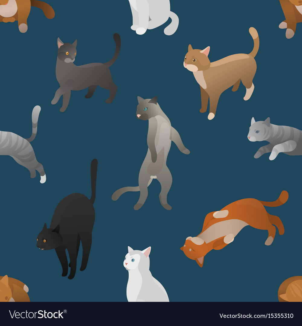 Seamless pattern of isometric cartoon cats