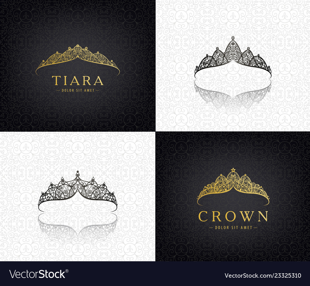 Set of lace luxury crown logos queen