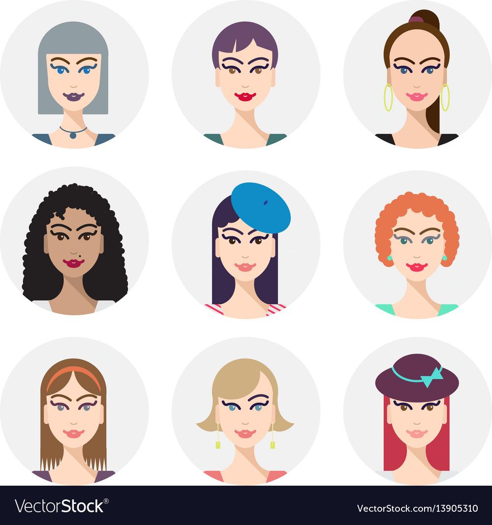 Set of various women faces avatars