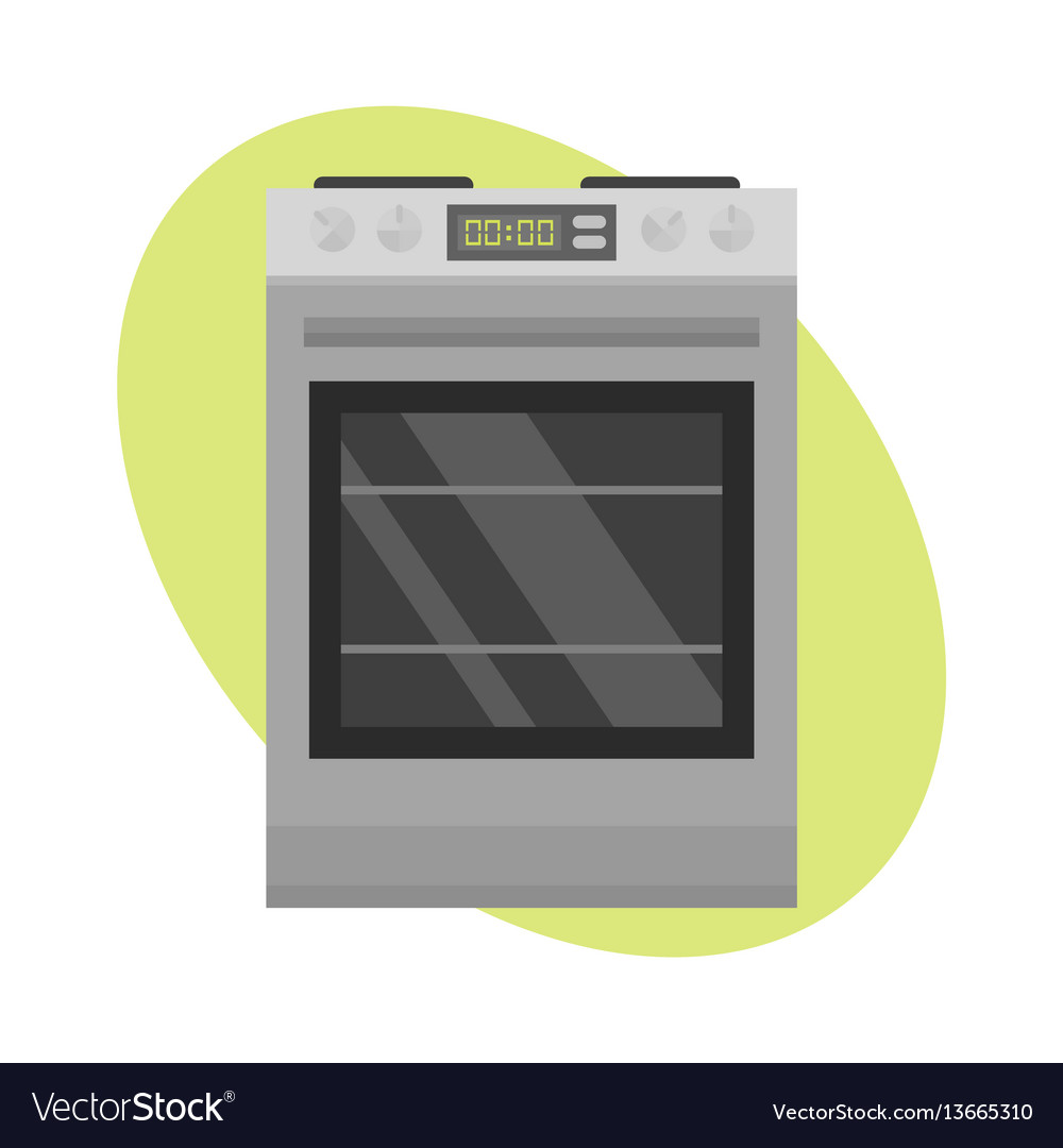 Stainless gas cooker with oven industrial metallic vector image
