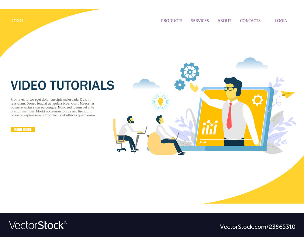 Video Tutorials Website Landing Page Design Vector Image