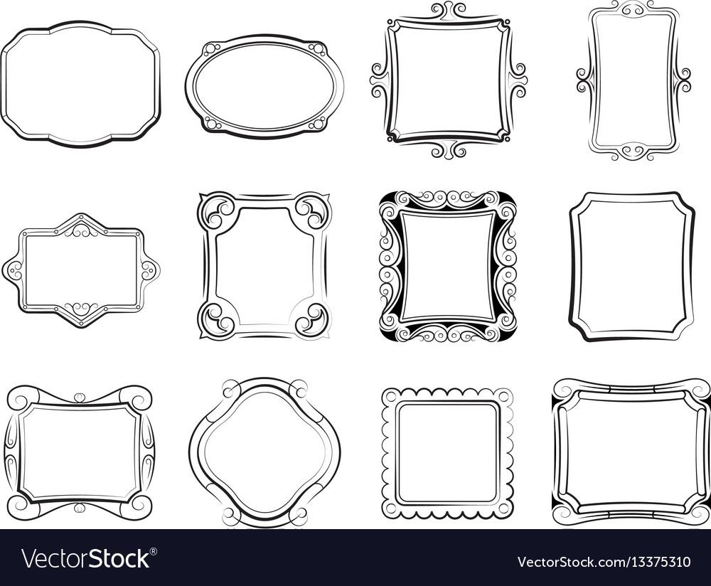 Vintage doodle picture frames hand drawn