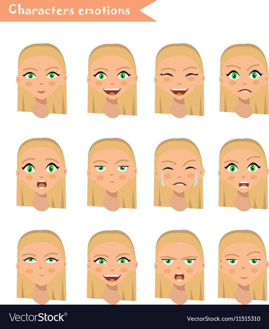 Woman emotion face set