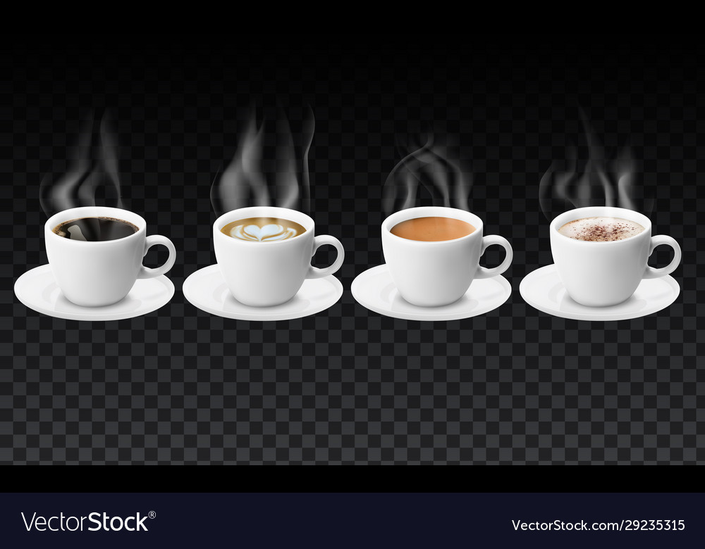 3d realistic different sorts coffee in white