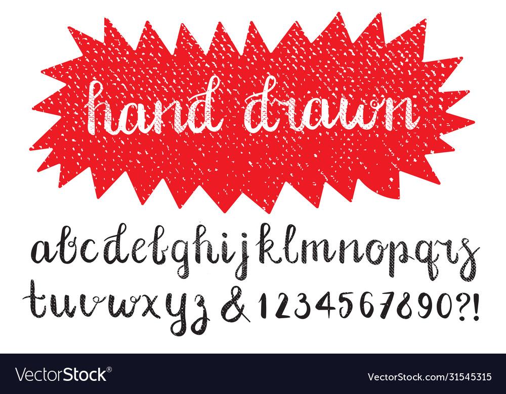 Calligraphic brush pen font hand drawn