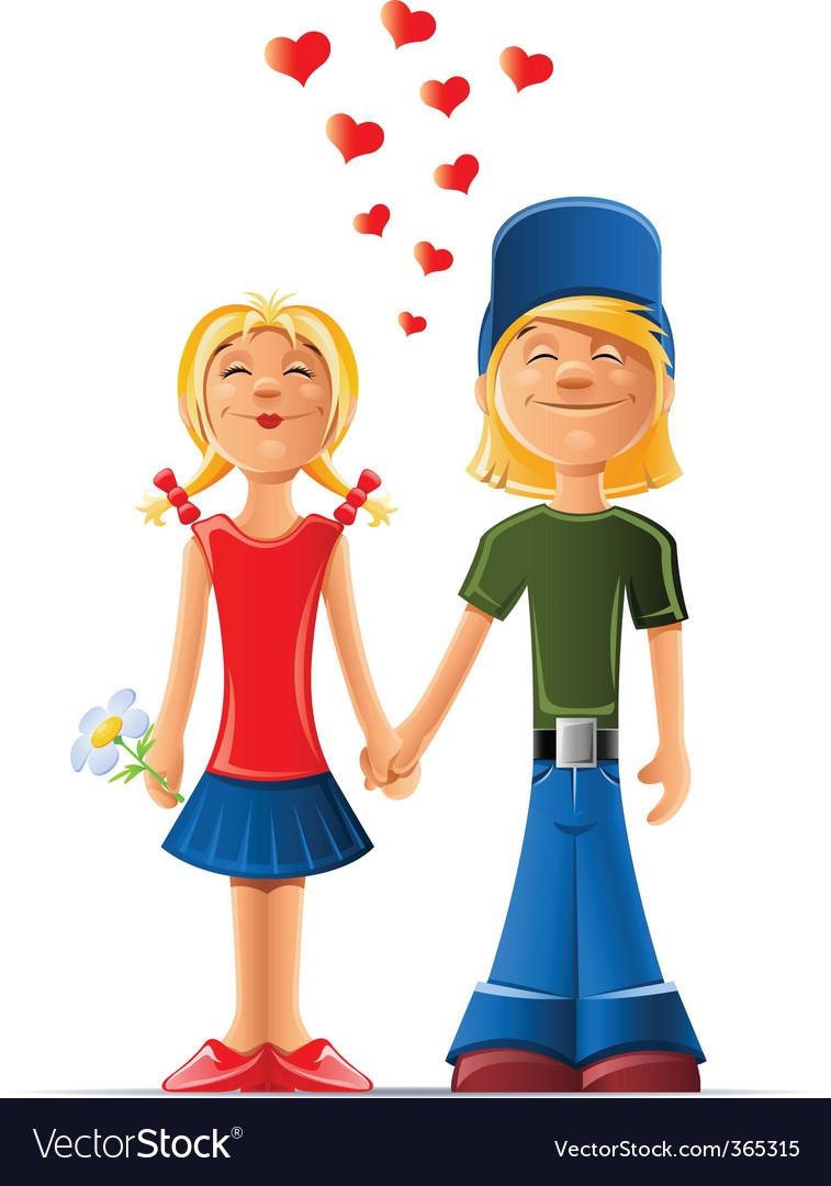 Cartoon boy and girl in love