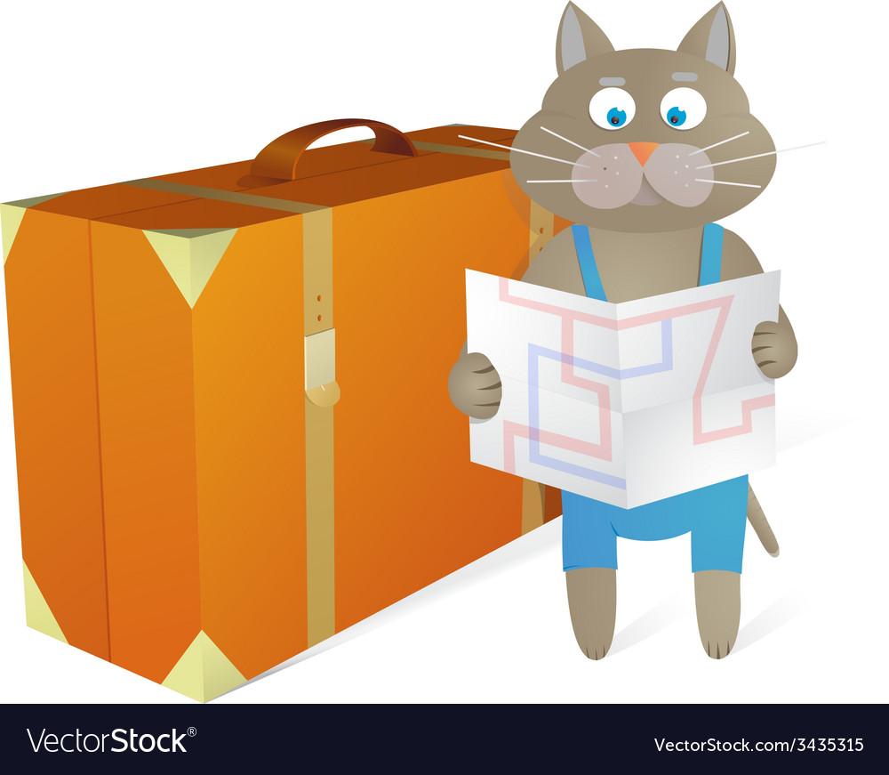 Cartoon cat traveling at vacations