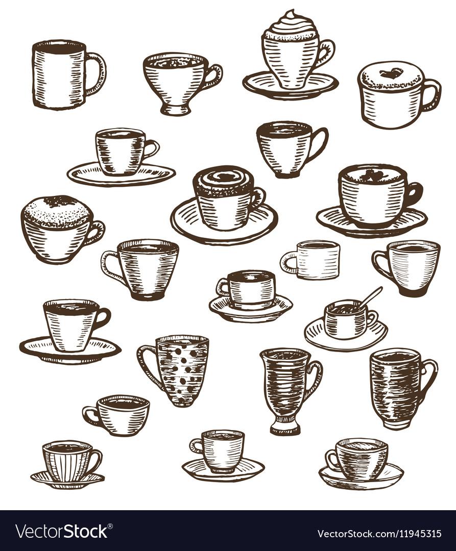 Coffee cups and mugs set
