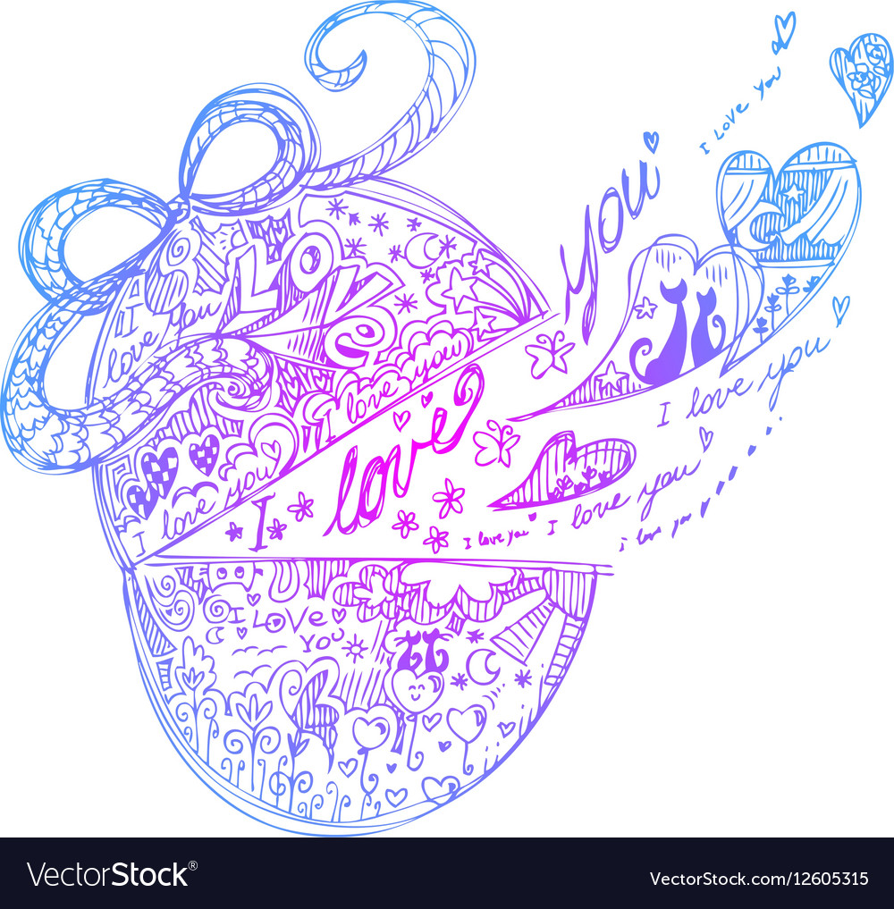 Decorated pink romantic Easter egg vector image