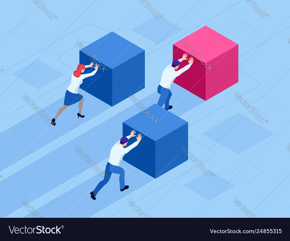 Isometric business people pushing cubes winner