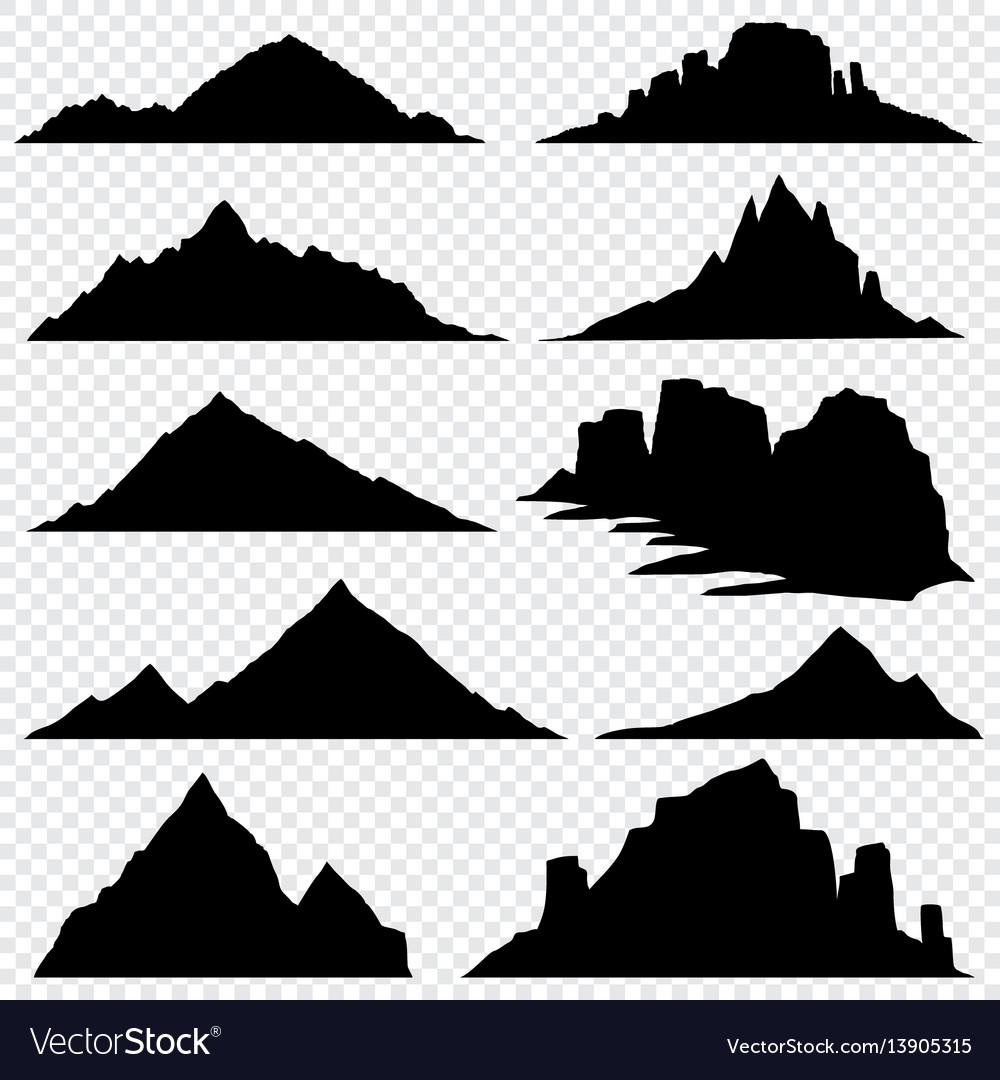 Mountain ranges black silhouettes set
