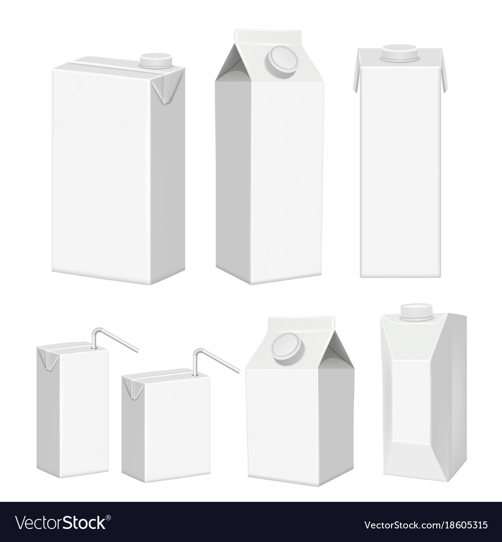 Realistic white blank juice carton package