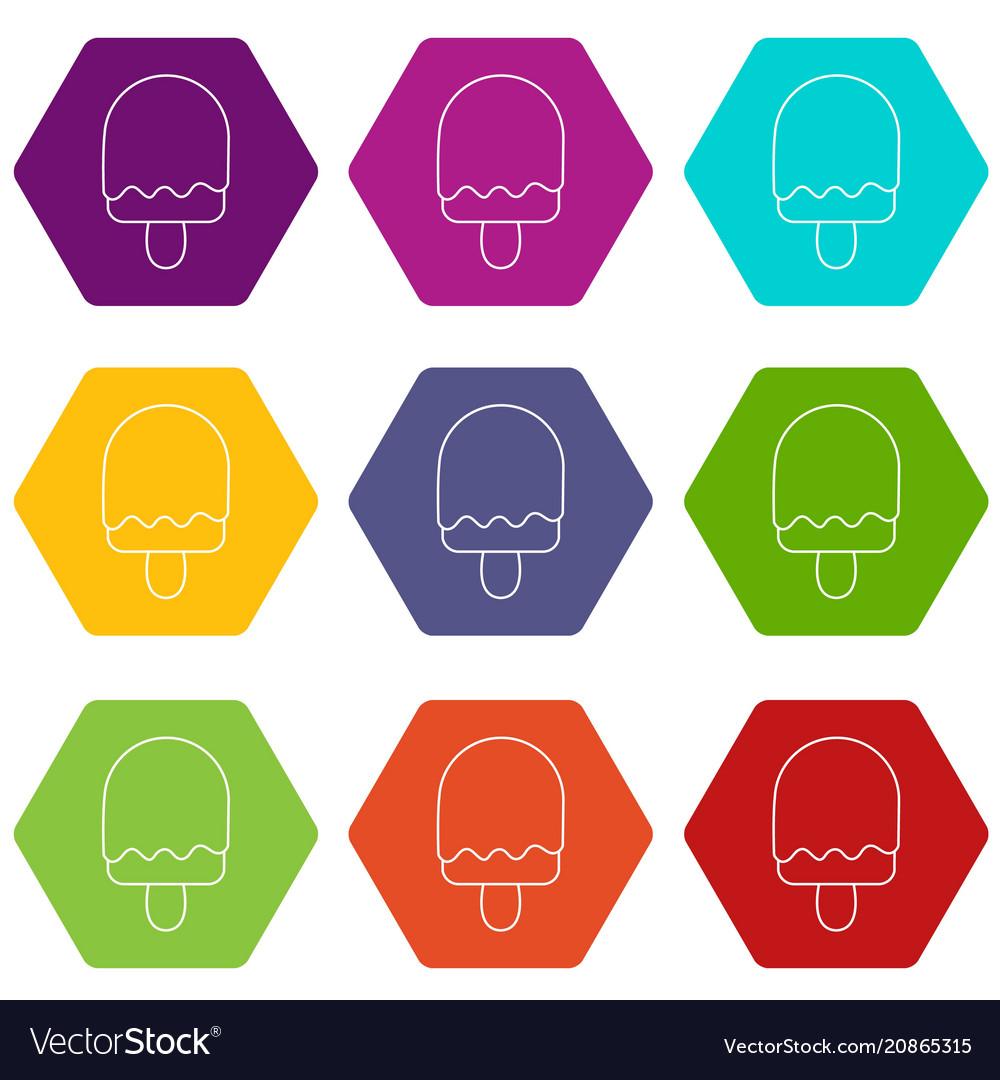 Semicircular ice cream icons set 9