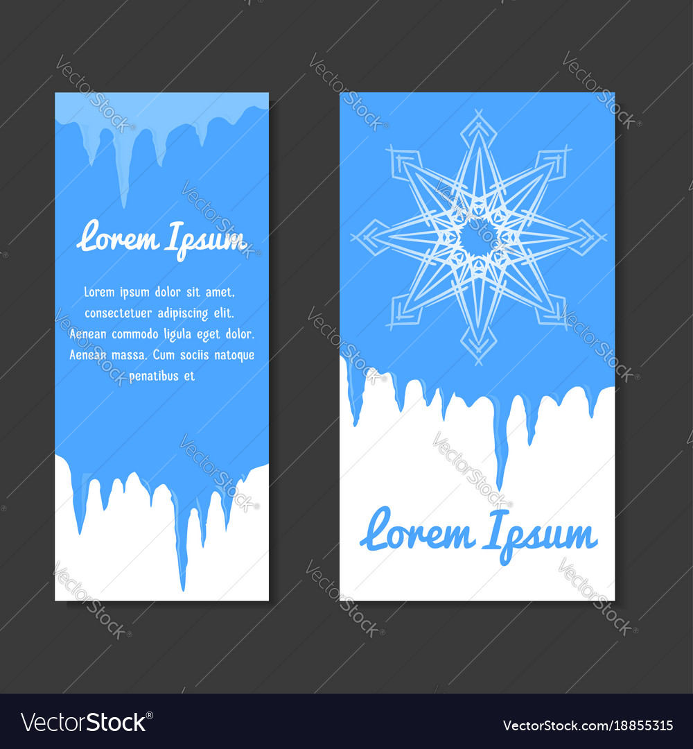 set of winter template with place for text for vector image