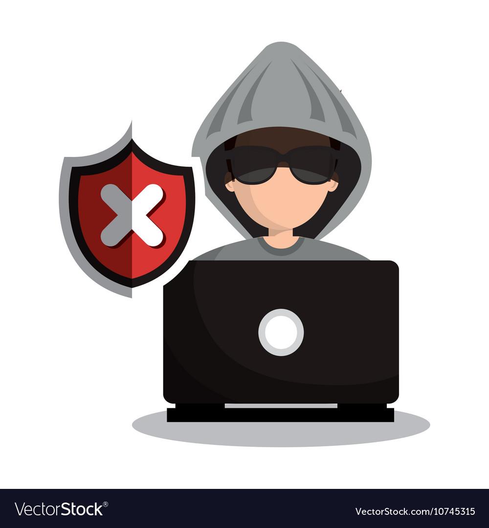 Technology laptop hacker warning design graphic