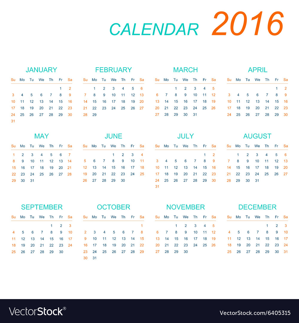 Template calendar 2016 Week starts with vector image