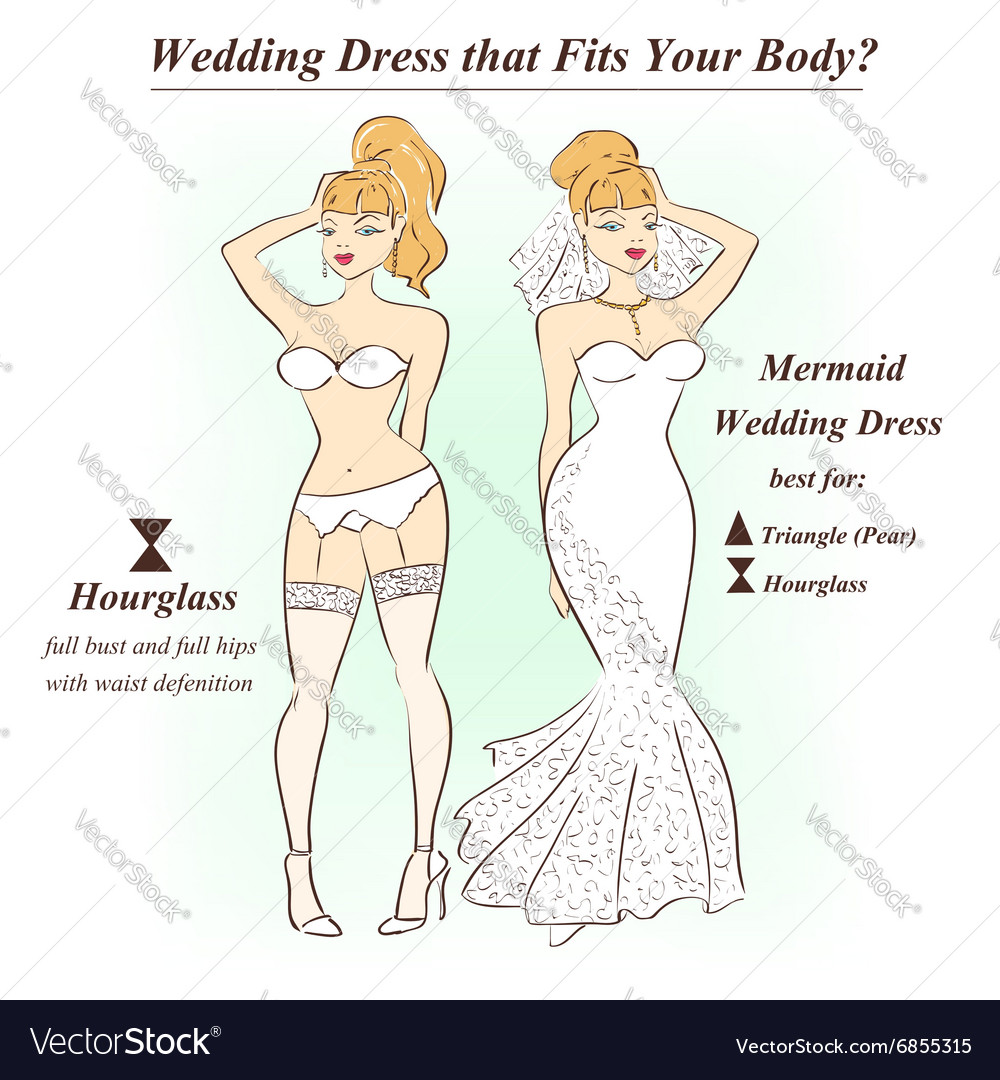 Woman In Underwear And Mermaid Wedding Dress Vector Image