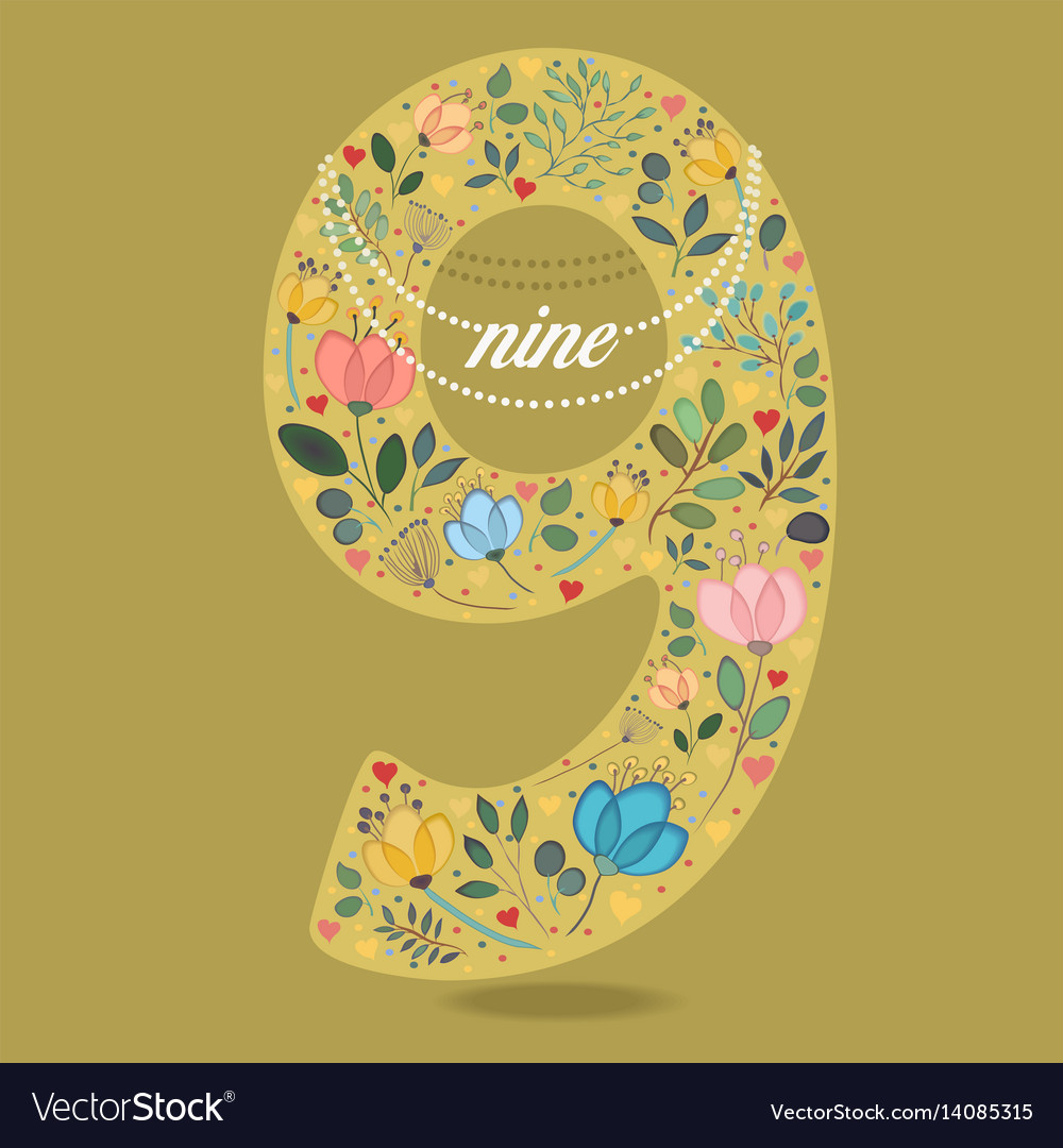 Yellow number nine with floral decor and necklace vector image