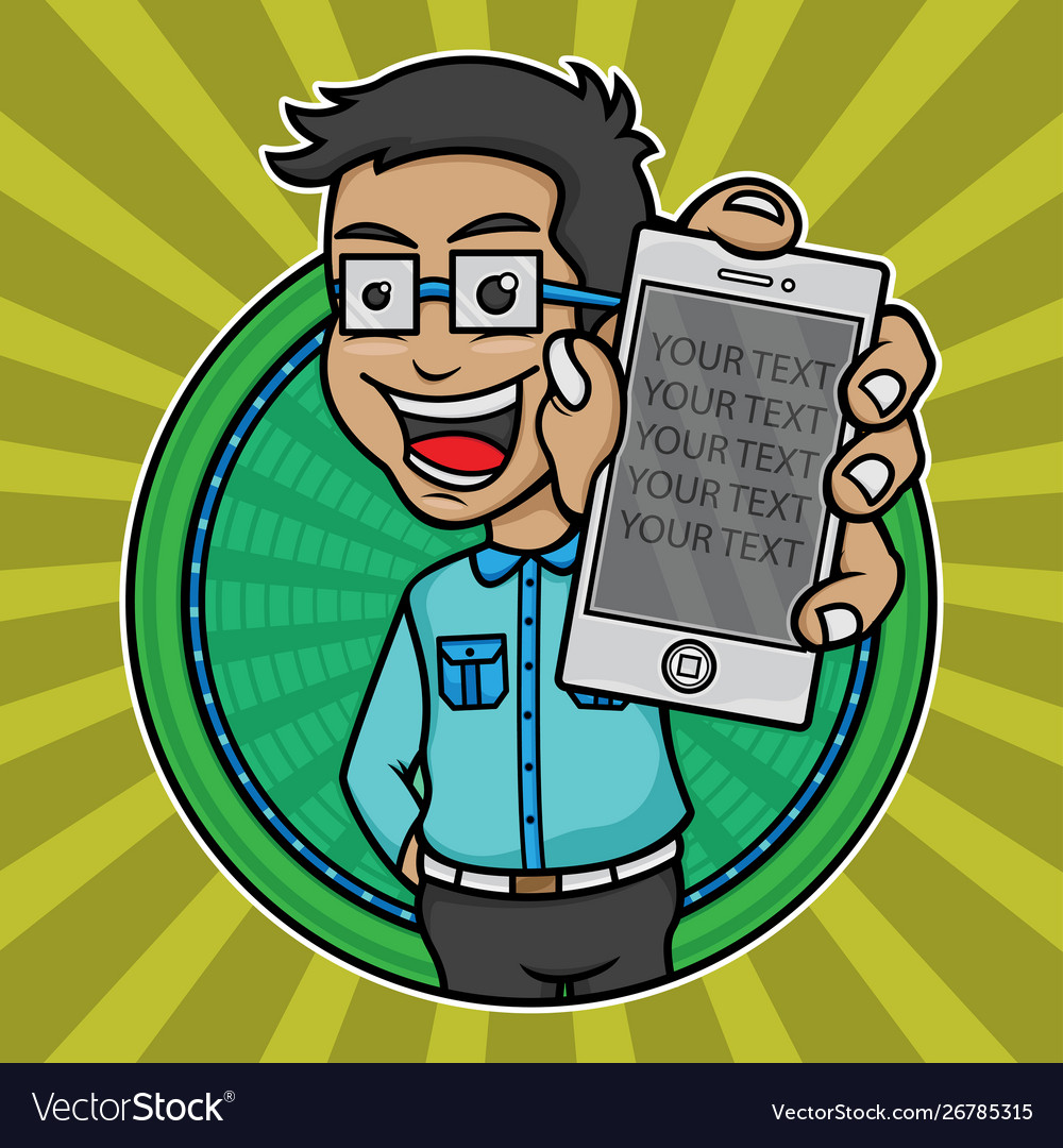 Young man logo holding a mobile