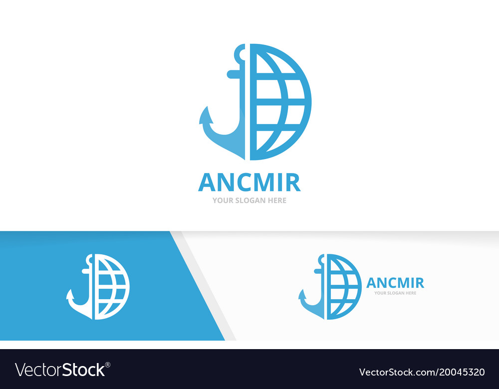 Anchor and planet logo combination marine