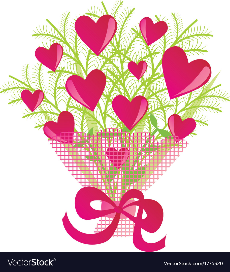 Bouquet of flowers with hearts vector image