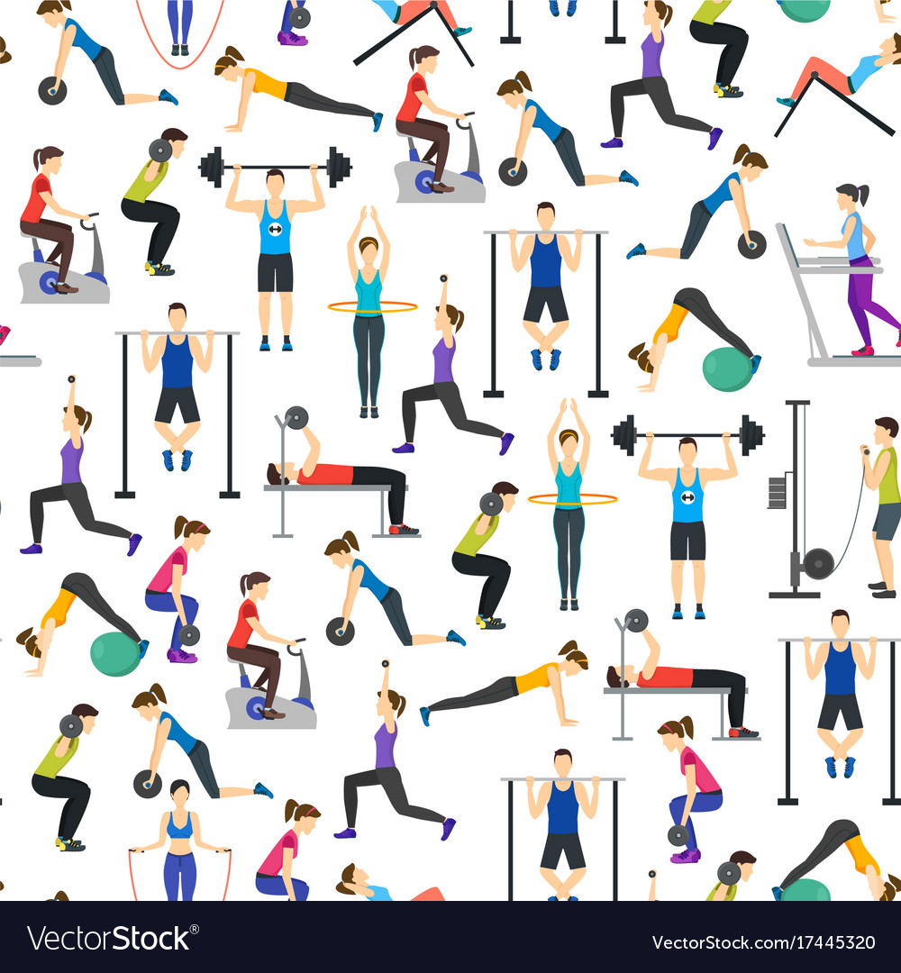 Cartoon people workout exercise in gym background