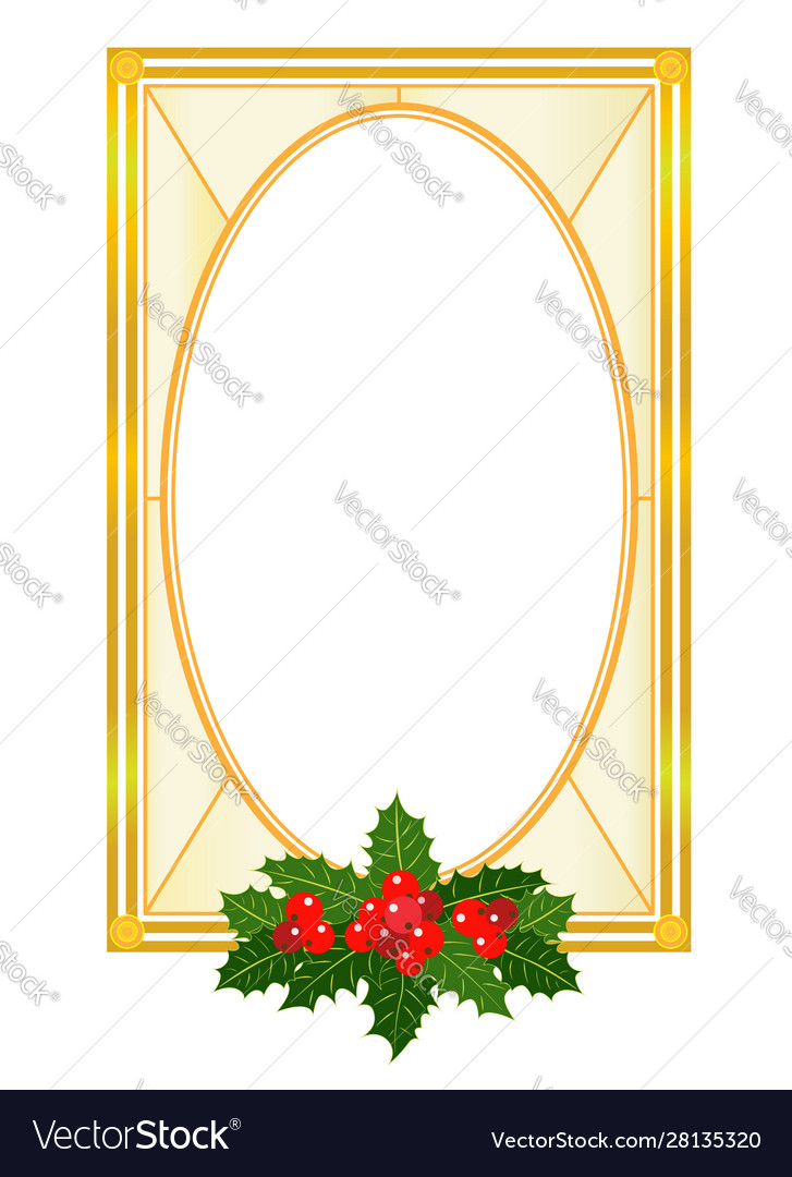 Christmas golden frame card with holly leaves