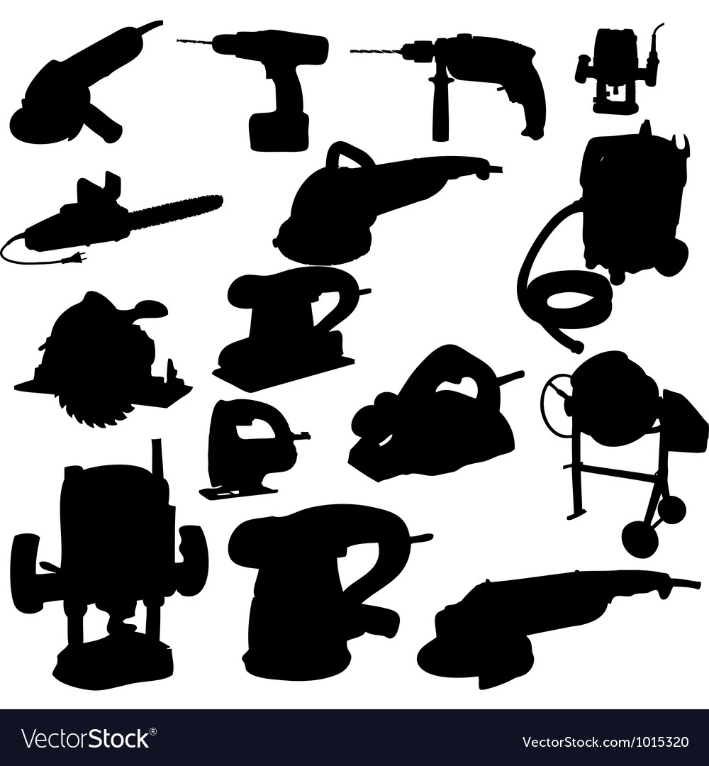 Collection of power tool silhouette Royalty Free Vector