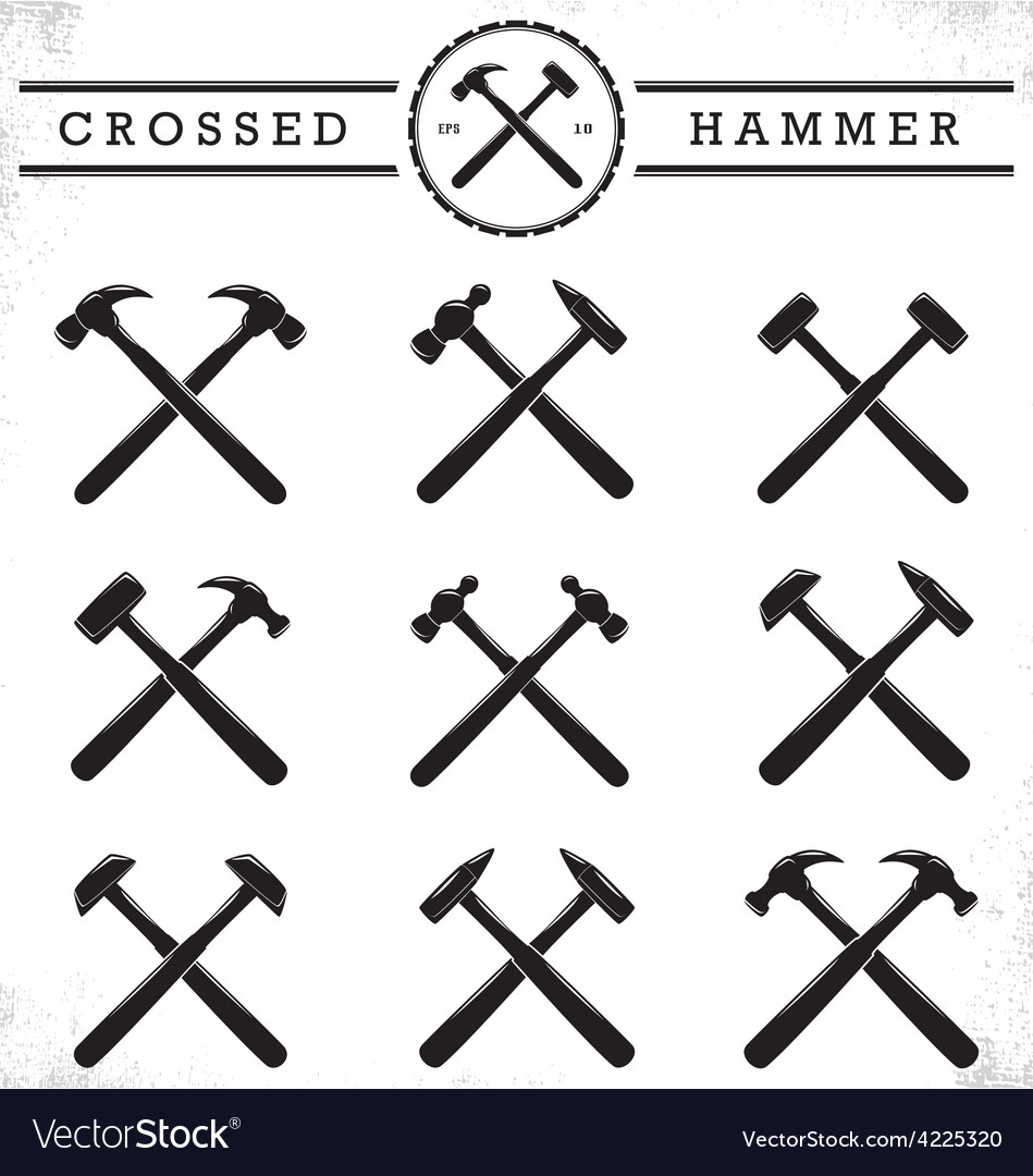 Crossed Hammer Royalty Free Vector Image Vectorstock
