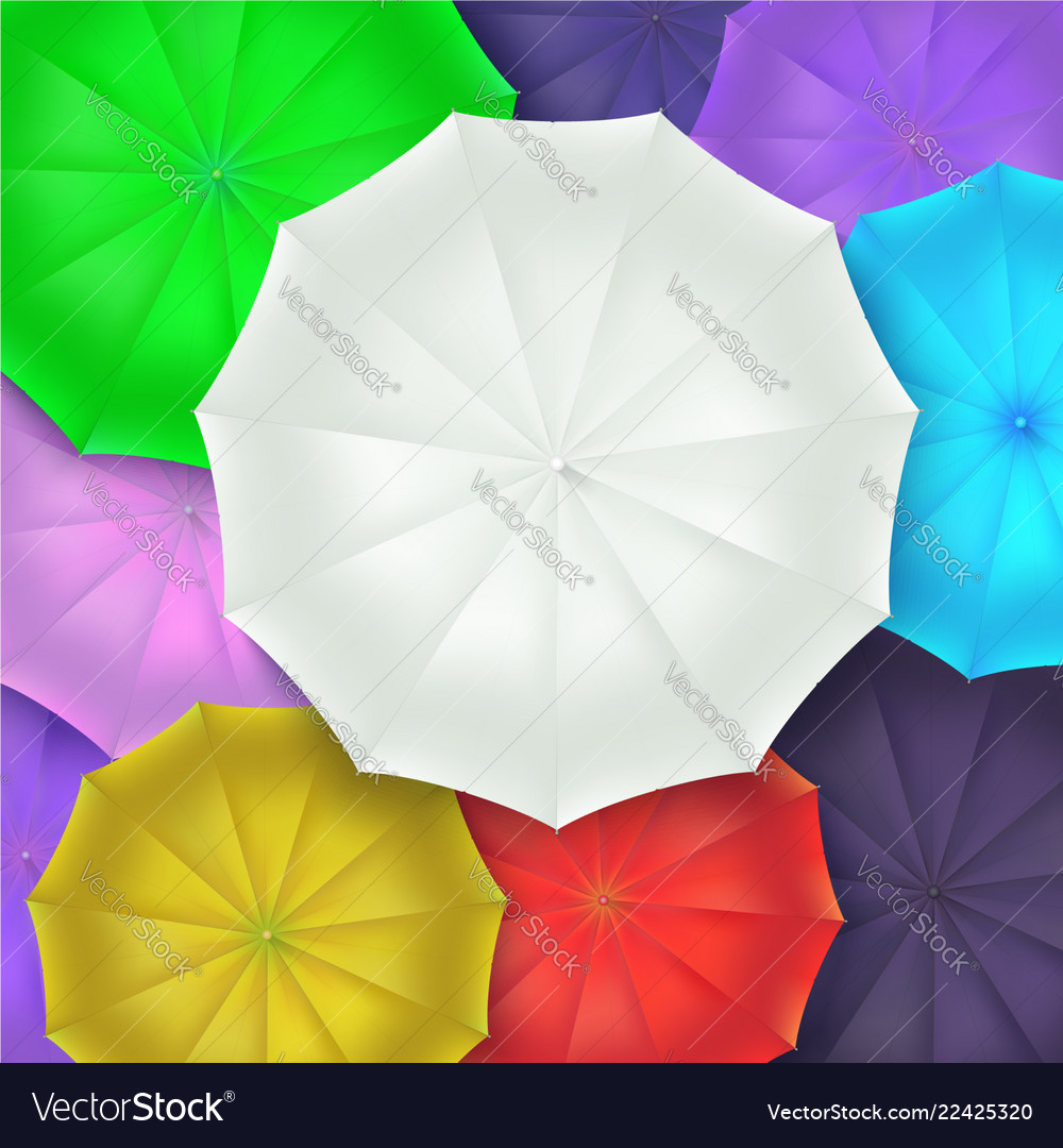 Different umbrellas top view concept of art