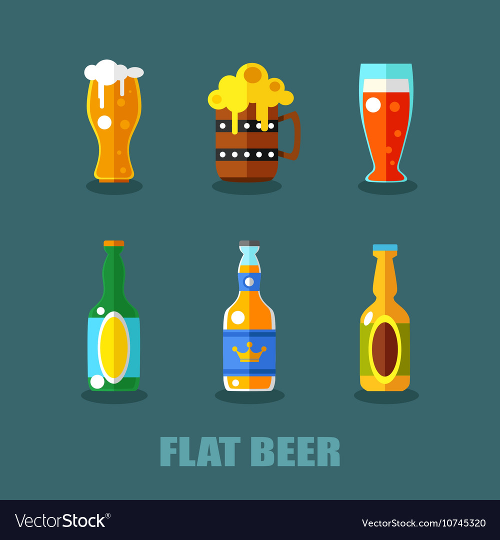Drink flat icons Alcohol and beer bottles
