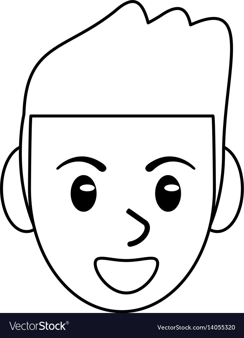Face male avatar smile outline